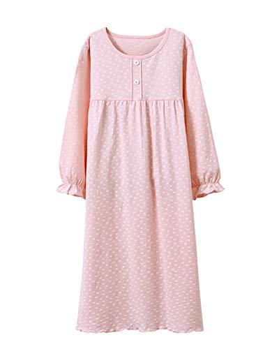 Camisones para Niña Suelto Impresión De Lunares Pijamas De Manga Larga para 3-12 Años Pink 160