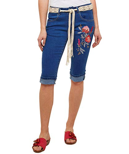 Joe Browns Damen Kurze Capri-Hose mit Blumenstickerei Blau 40 - Joes Jeans Hose