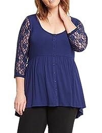 WLITTLE Damen Übergröße Herbst Spitzen Bluse Shirt Mollige Frauen Loose T- Shirts Lace Langarm Oberteil 47a9a6c0e5