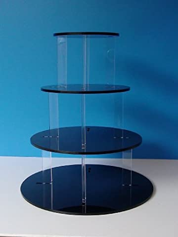 Gloss Black 4 Tier 5mm Thick Acrylic Cup Cake Stand