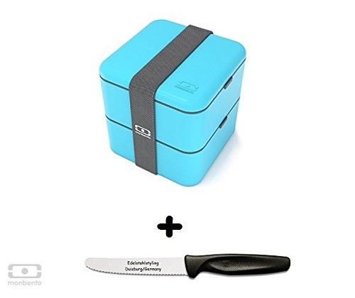 Monbento Square himmelblau - Die quadratische Bento-Box + Edelstahlstyling Universalmesser GRATIS