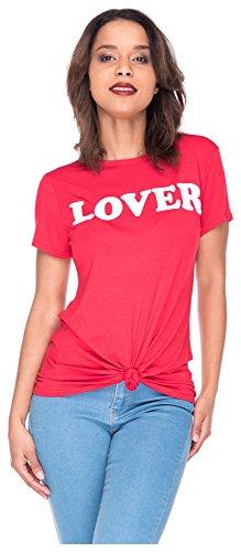 7a3978699821 Tshirt Shirt Lover Frontprint Damen T-Shirt Top Oberteil S M Rot