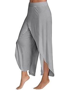 Ushero Mujer Pantalones de Yoga Pantalones Deportivos de Fitness Ancho de Chifón Harén Pantalón Polainas para...