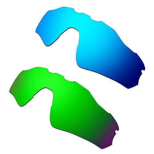 HKUCO Mens Replacement Lenses For Oakley Radar EV Path Blue/Green Sunglasses