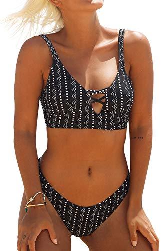 CUPSHE Tropische Hitze Bikini Set, Schwarz Weiß, XL