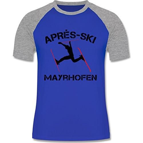 Après Ski - Apres Ski Mayrhofen - zweifarbiges Baseballshirt für Männer Royalblau/Grau meliert