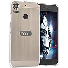 FUNDA HTC Desire 10 Pro Caso Ultra Slim Thin Metal Frame Bumper Case with Shockproof Hard PC Back Cover Bumper Protector (Plata)