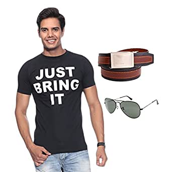 "Mall4all  The Rock ""JUST BRING IT "" Youth T-Shirt With Sunglass &Buckle Belt"