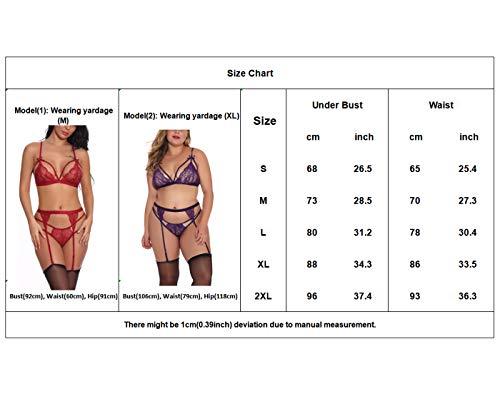 Feoya Damen Dessous Set, 3-teilig, BH + Straps + G-String, transparent, Damen, Erotisch, Nachtwäsche, Damen, XS-XL, 4 Farben Gr. EU S=Etikett M, rot - 6