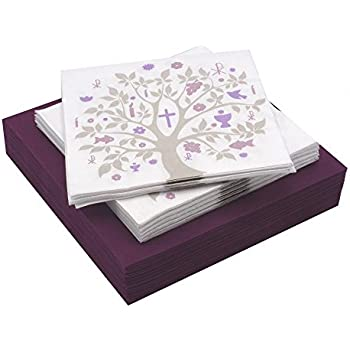 Amazon.de: Servietten Konfirmation Kommunion Baum des Lebens Mauve ...