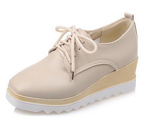 AllhqFashion Damen Schnüren Quadratisch Zehe Mittler Absatz Rein Pumps Schuhe Cremefarben