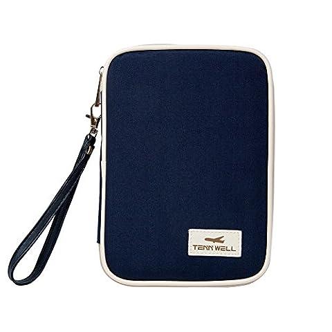 Passport Wallet-Tenn Well, Waterproof Passport Holder Organizer Travel Wallet Purse Document Organizer Passport Ticket Credit ID Card Cash Holder Case (Dark Blue)