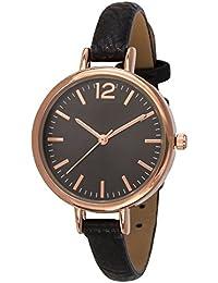 """SIX """"Geschenk"""" schwarze Damen Uhr mit dunklem Ziffernblatt und rosegoldenen Details schmales Kunstleder Armband in Geschenkbox (274-343)"""
