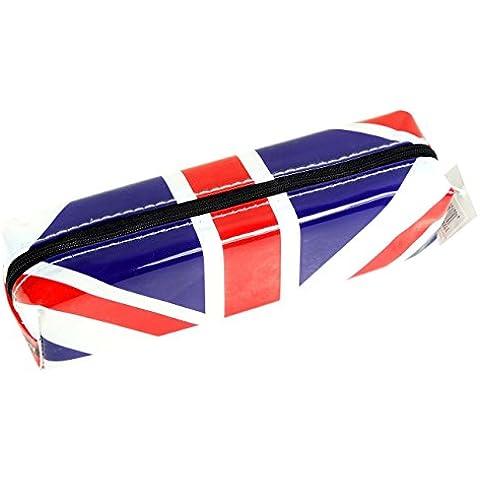 Elegante astuccio moderno, motivo: Union Jack britannica, souvenir da collezione con bandiera del Regno Unito Astuccio con cerniera, per studenti, ricordo per la scuola e per la classe. Astuccio portatile da collezione, con motivo divertente e peculiare, con bandiera Union Jack britannica. Un ricordo indimenticabile di Londra.