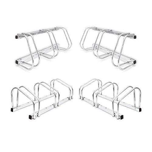 Relaxdays 4X 3er Fahrradständer im Set, Mehrfachständer für je 3 Fahrräder, zur Boden- und Wandmontage, HBT 26 x 73 x 32 cm, Silber -