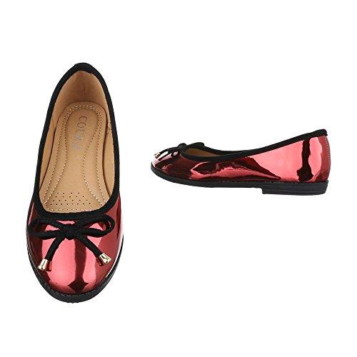 Ballerinas Damen Schuhe Geschlossen Blockabsatz Moderne Ital-Design Ballerinas Rot