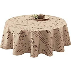 Nappe anti-taches Olivette beige - taille : Ovale 150x240 cm
