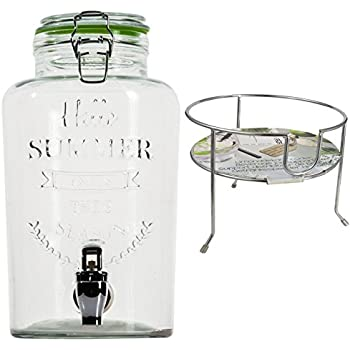 Getränkespender mit Zapfhahn und Ständer aus Glas 3 L Wasserspender Saftspender