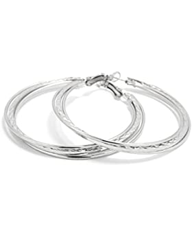 2LIVEfor Elegante Ohrringe Creolen Silber Hoop Earrings Ohrhänger Hoops Creolen Breit Rund Schlicht Creolen gedreht...