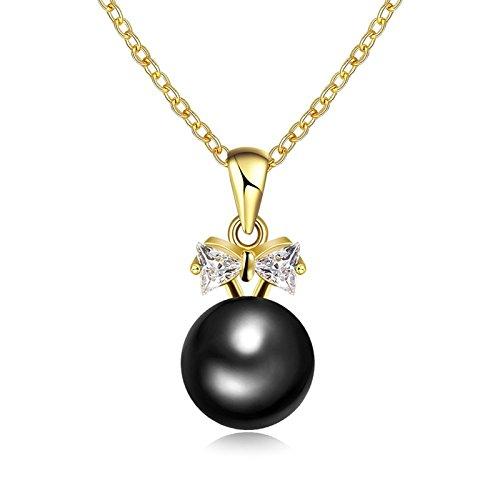 Damen Halskette Fliege Perle Schwarz Anhänger Kette 45cm