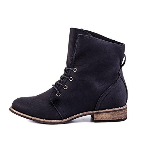 Stylische Ankle Worker Boots Schnür Stiefeletten Stiefel in hochwertiger Lederoptik Schwarz Glattlederoptik