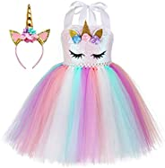 Kokowaii Fancy Girls Unicorn Dress Kids Halloween Costume with Headband