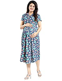 ee7abff9a39cd Mamma's Maternity Blue Denim Floral Print Maternity Dress