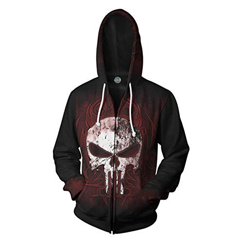 Rabbit sister Unisex 3D Punisher Hooded Sweatshirt Kordelzug Taschen Pullover Cosplay Kostüm,Schwarz,XXXL (Der Punisher Cosplay Kostüm)