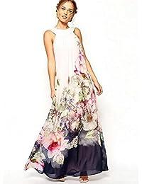 Babyonlinedress Largo Vestido Blanco De Chiffón Sin Mangas Estampado floral con Espalda Semi-cubierta
