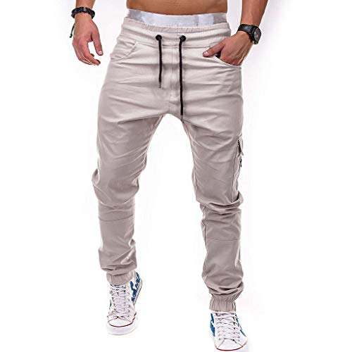 LANSKIRT Hombre Pantalones Chándal Jogger Deportivos Urbano Pantalón de Trabajo Ropa Fitness Deporte Pant Gym de Cintura Elastica con Cremallera y Bolsillos