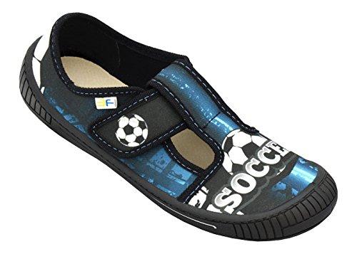 3f freedom for feet Jungen Sport Schulschuhe mit Leder Einlegesohlen - Verschiedene Designs – Ohne Schnürsenkel - Kinderschuhe 30-36 (34, Klettverschluss Soccer 4SK3/14)