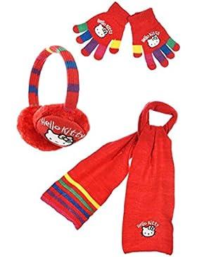 Cache orecchie + sciarpa + guanti Multicolore ragazza hello kitty rosso tu