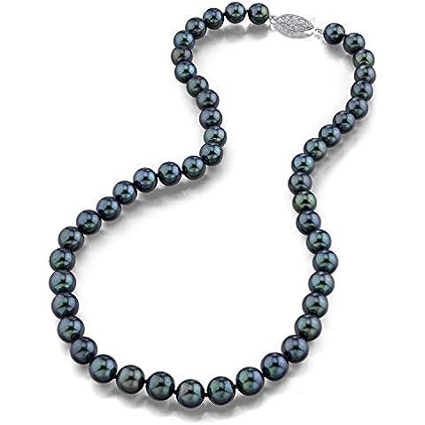 Oro 7.0–7.5mm japonés Akoya Negro Collar de perlas cultivadas–14K Calidad Aaa, 18