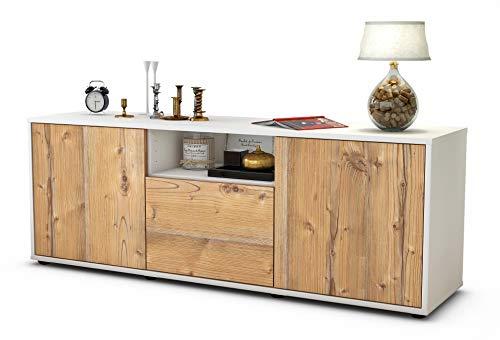 Stil.Zeit Möbel TV Schrank Lowboard Andreana, Korpus in Weiss matt/Front im Holz Design Pinie (135x49x35cm), mit Push to Open Technik, Made in Germany
