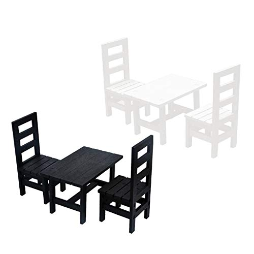 SaniMomo 2 Sätze 1: 6 Puppenhausmöbel, Miniatur Esstisch Und Stühle, 12 Zoll Puppe, Action Figuren Zubehör, Schwarz & Weiß (Modernen Weißen Esstisch Satz)