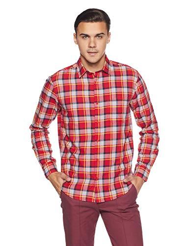 Diverse Men's Checkered Regular Fit Casual Shirt (DVC04C2L03-202A!_Red!_Medium)