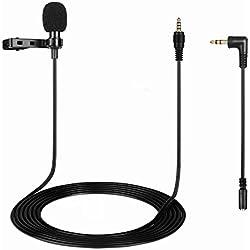 OnvianTech Microfono a risvolto, Clip on Microfono a condensatore omnidirezionale da 150 cm Lavalier Mic per iPhone e smartphone Android Fotocamere Mac Portatili Registrazione audio video