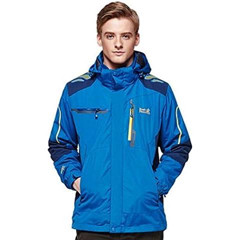 WE&ZHE Soft Shell Giacche sci giacca in pile maschile anti-pillola 3-in-1 in due pezzi all'aperto ispessito impermeabile coibentato giacca alpinismo cappotto . blue . xl - Coperchio Primaria