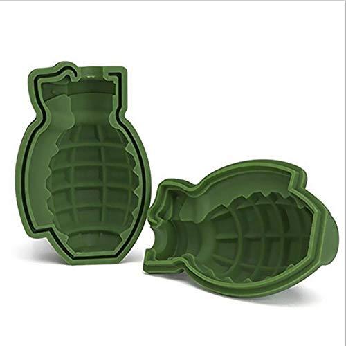 CTOBB 1PC Hot große Eiswürfel Puddingform 3D-Schädel-Silikon-Form 4-Cavity DIY-EIS-Hersteller Hausgebrauch Küchenzubehör, Grün