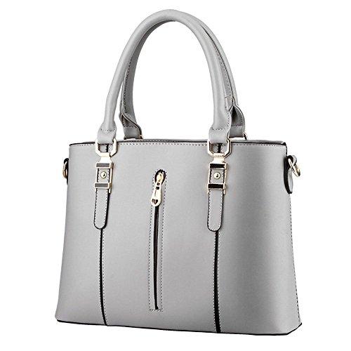DELEY Moda Elegante Donna Cerniera Tote Borsa A Spalla Borsa A Tracolla Ufficio Valigetta Top Handle Bag Grigio