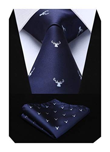 HISDERN Men's Christmas Tie Elk ...