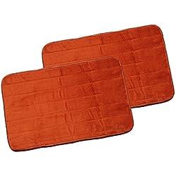 "Warmland Anti Skid Solid 2 Piece Polyester Door Mat-15""x 22"", Rust"