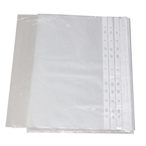 Top Qualité 50 pcs A4 Plastique Transparent perforé Punch poches 30 Micron pour classement dossiers Portefeuilles manches