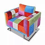 Lingjiushopping Sessel Würfel mit Beine Chrom und Design Patchwork aus Stoff Farbe: Bunt Maße: 85,5x 63x 74cm (L x T x H)