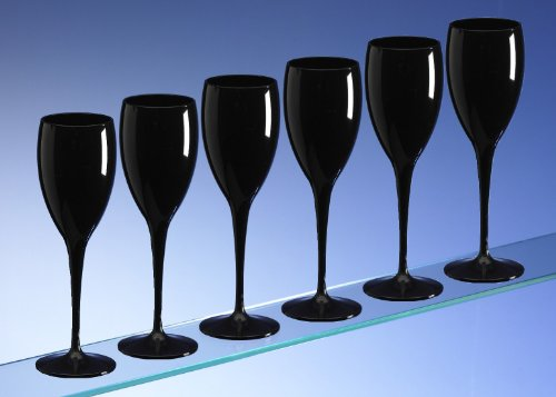 Avenue's Dishwasher Safe Unbreakable Reusable Polycarbonate High Quality Black Champagne Flutes 180ml / 6oz (set of 6)