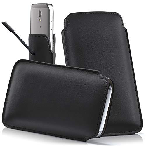 moex Lenovo A7010 | Hülle Schwarz Sleeve Slide Cover Ultra-Slim Schutzhülle Dünn Handyhülle für Lenovo A7010 Case Full Body Handytasche Kunst-Leder Tasche