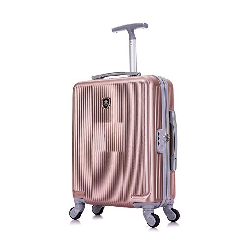 Toctoto 55x40x20cm Lightweight Ryanair Maximum Size Carry On Hand Cabin Luggage Suitcase, Bagaglio a Mano Unisex (Oro rosa)