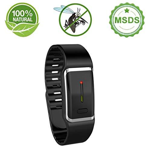 VNEIRW Mückenschutz Armband Anti Mosquito Repellent Smartwatch USB Elektronische Sonic Mückenschutz Wasserdichte Intelligente Uhr Wiederverwendbar für Schwangere, Kinder - Sicheres DEET-freies (BK) (Sicher Uhr)