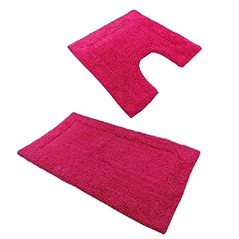 Lot tapis de bain et contour WC en coton, antidérapant, lavable, 9couleurs disponibles