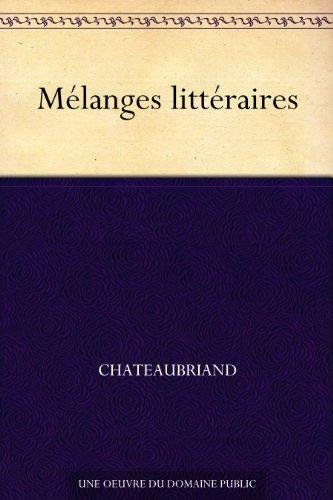 Couverture du livre Mélanges littéraires